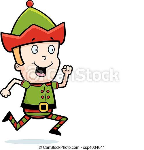 a happy cartoon christmas elf running and smiling vector clip art rh canstockphoto com Fairy Vector Graphic Christmas Vector Graphics