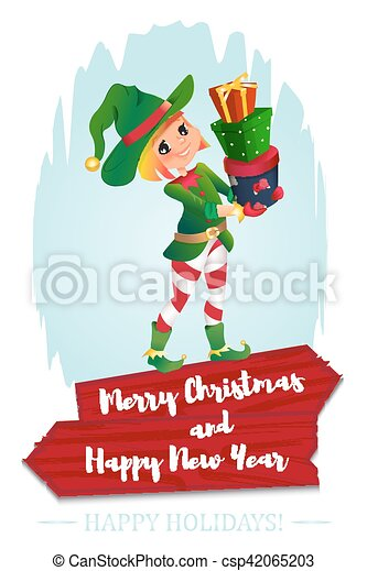 santa claus elf helper child santa helper traditional costume red wooden banner merry christmas elf santa s assistant with gifts isolated on a white - Merry Christmas Elf