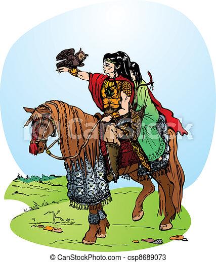 elfs riding on horse - csp8689073