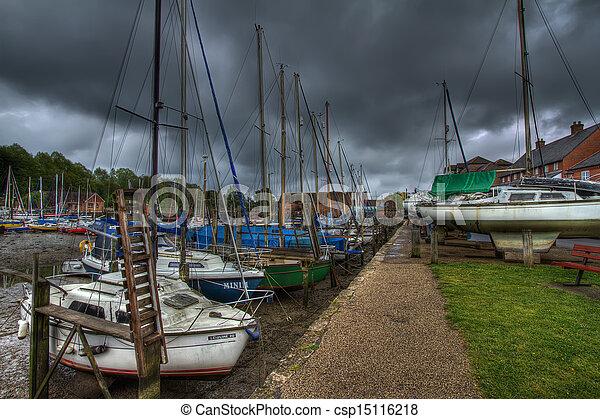 Eling harbour in Southampton UK. - csp15116218
