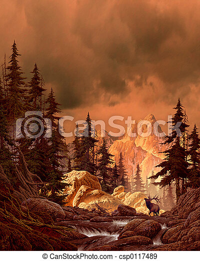 Elk in the Rockies - csp0117489