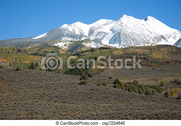 Elk Mountains after First Snow - csp7224845