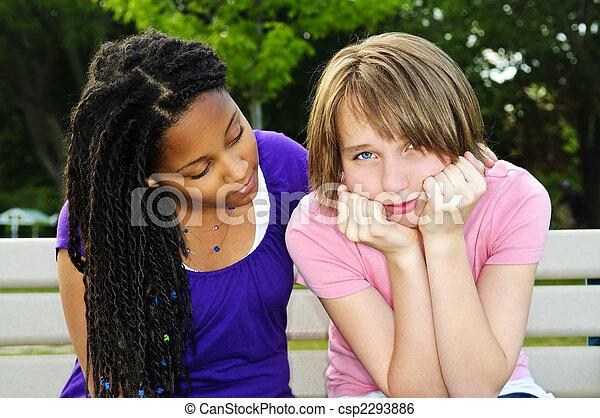 elle, adolescent, ami, consoler - csp2293886