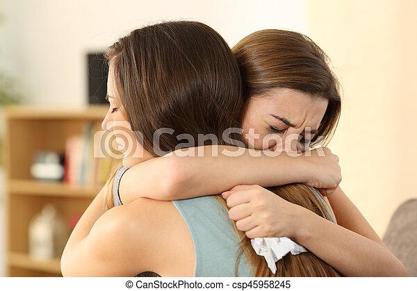 elle, consoler, triste, ami, girl, mieux - csp45958245