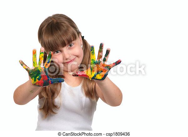 elle, mains, enfant, sourire, peinture, jour, préscolaire, soin - csp1809436