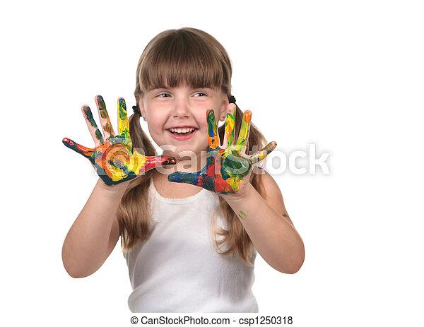 elle, mains, tableau enfant, soin jour - csp1250318