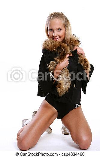 ellegant beautiful woman in studio - csp4834460
