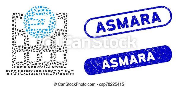 Ellipse Mosaic Dash Company Building with Distress Asmara Watermarks - csp78225415