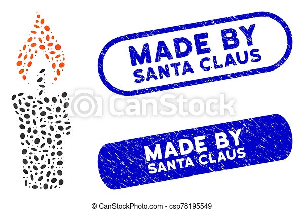 Elliptic Collage Candle with Distress Made by Santa Claus Watermarks - csp78195549