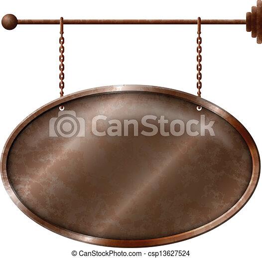 Elliptic rusty metal signboard - csp13627524