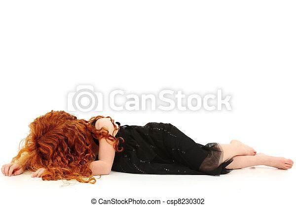 Elmentary Child Girl Crying on Floor - csp8230302