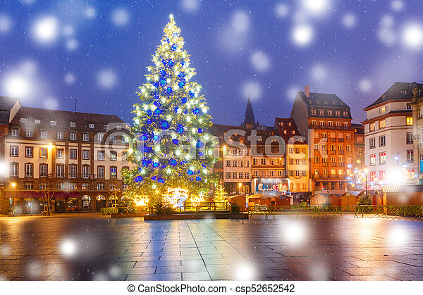 Elsass Strasbourg Trad Jul Frankrike Stad Gammal Upplyst Strasbourg Trad Frankrike Elsass Plats Dekorerat
