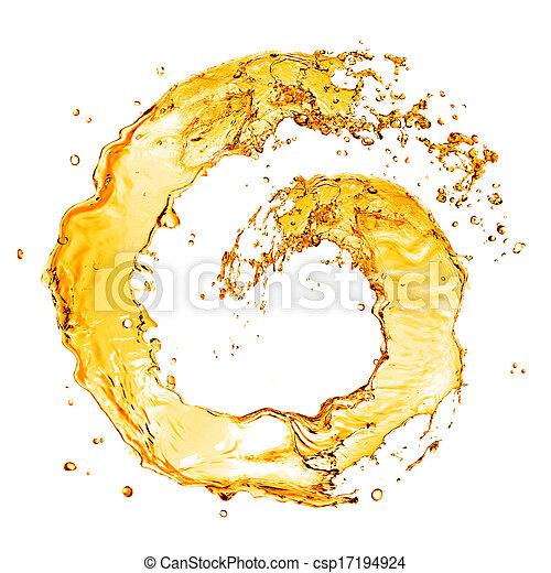 elszigetelt, víz, loccsanás, narancs, fehér, kerek - csp17194924