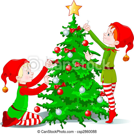 elves decorate a christmas tree csp2860088