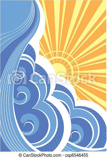 elvont, ábra, vektor, táj, tenger, waves. - csp6546455
