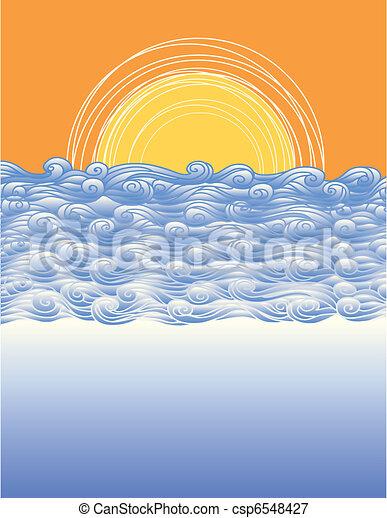 elvont, ábra, vektor, táj, tenger, waves. - csp6548427