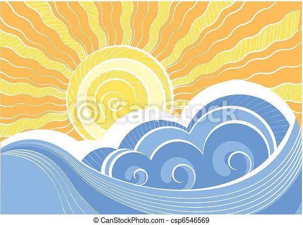 elvont, ábra, vektor, táj, tenger, waves. - csp6546569