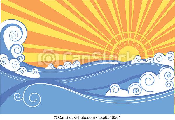 elvont, ábra, vektor, táj, tenger, waves. - csp6546561