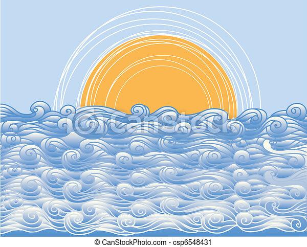elvont, ábra, vektor, táj, tenger, waves. - csp6548431