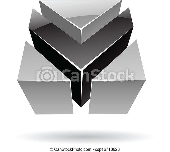 elvont, 3, színes, kocka alakú, ikon - csp16718628