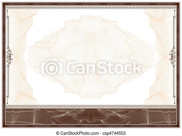 em branco, borda, ou, certificado, diploma - csp4744553