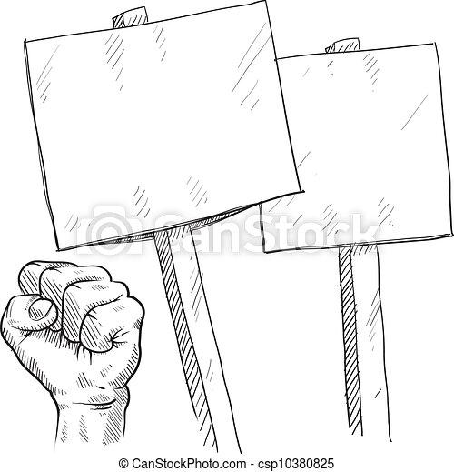 em branco, protesto, sinais, esboço - csp10380825
