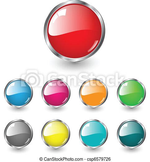 em branco, teia, botões, lustroso - csp6579726