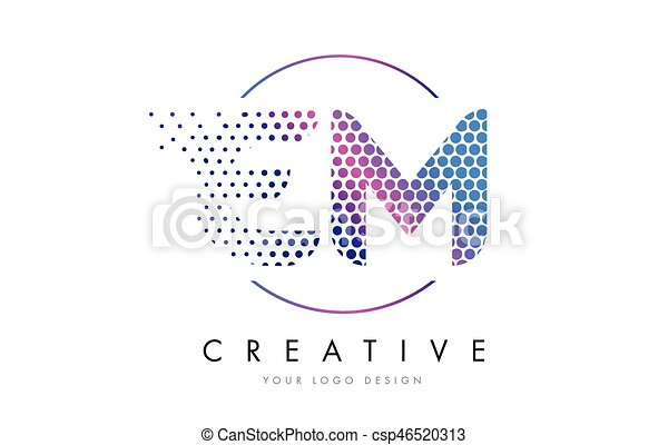 Em E M Pink Magenta Dotted Bubble Letter Logo Design Vector