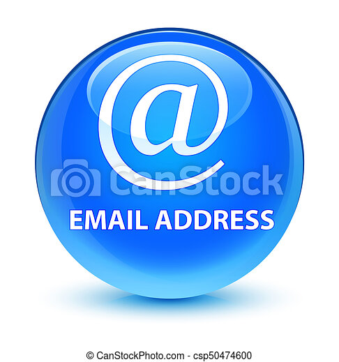 Email address glassy cyan blue round button - csp50474600