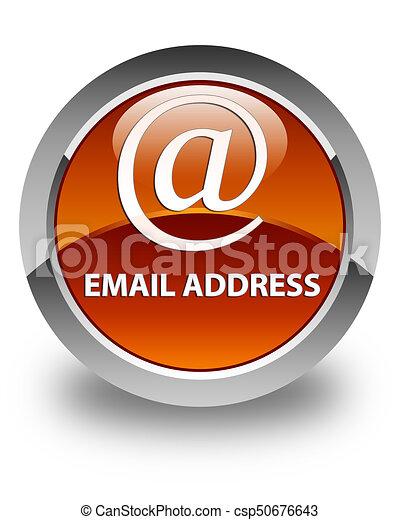 Email address glossy brown round button - csp50676643