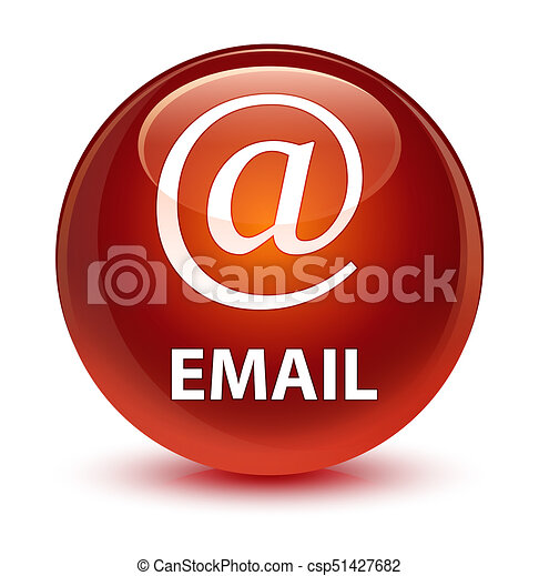Email (address icon) glassy brown round button - csp51427682