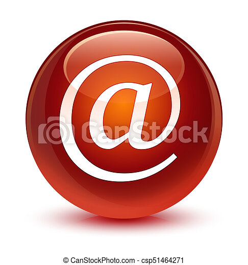 Email address icon glassy brown round button - csp51464271