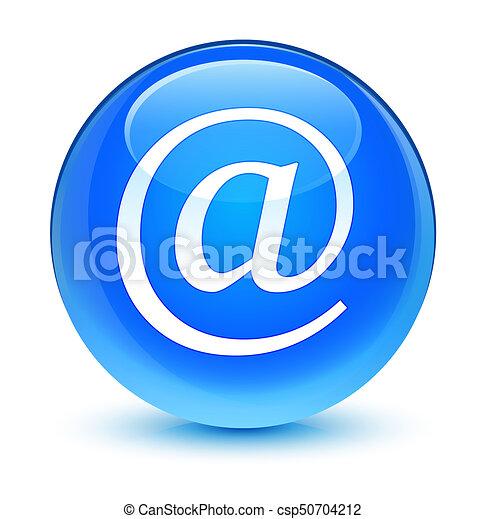 Email address icon glassy cyan blue round button - csp50704212