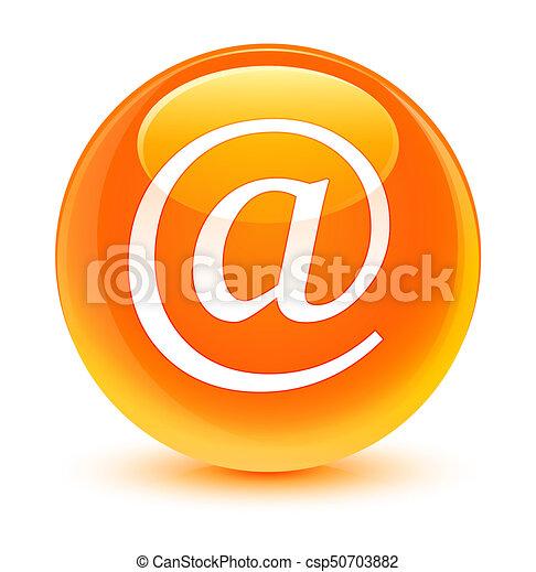 Email address icon glassy orange round button - csp50703882