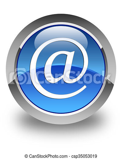 Email address icon glossy blue round button - csp35053019