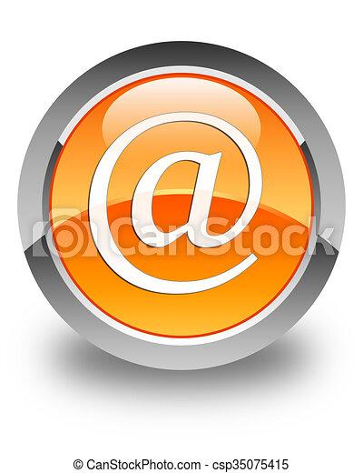 Email address icon glossy orange round button - csp35075415