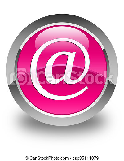 Email address icon glossy pink round button - csp35111079