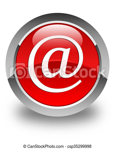 Email address icon glossy red round button - csp35299998