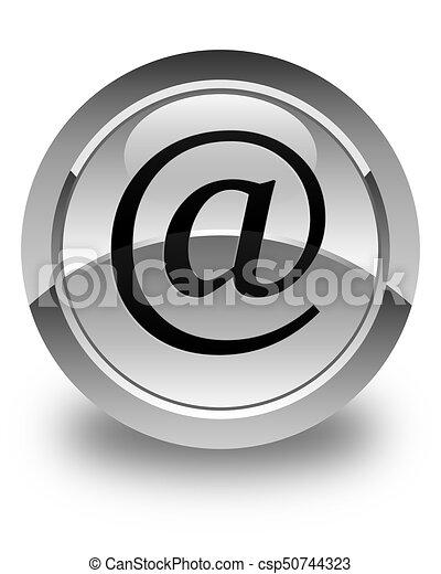 Email address icon glossy white round button - csp50744323