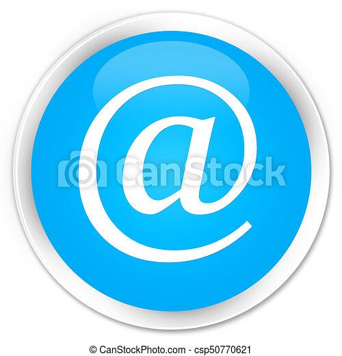 Email address icon premium cyan blue round button - csp50770621