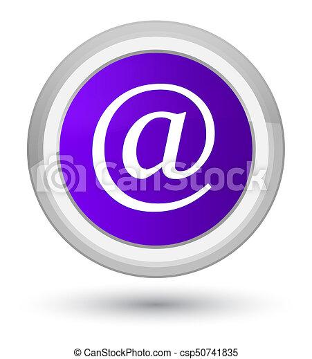 Email address icon prime purple round button - csp50741835