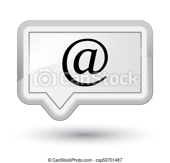 Email address icon prime white banner button - csp50701487