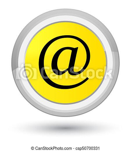 Email address icon prime yellow round button - csp50700331