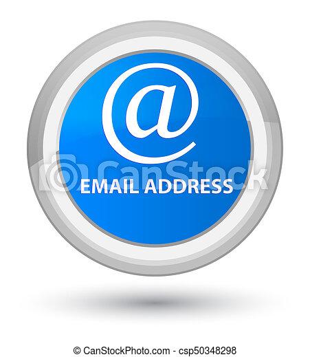 Email address prime cyan blue round button - csp50348298