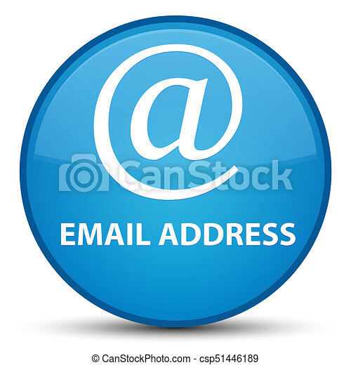 Email address special cyan blue round button - csp51446189