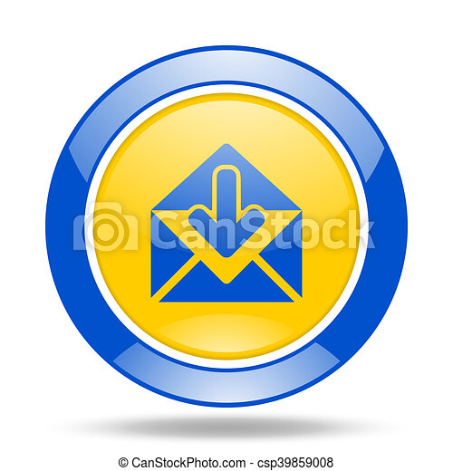 email blue and yellow web glossy round icon - csp39859008