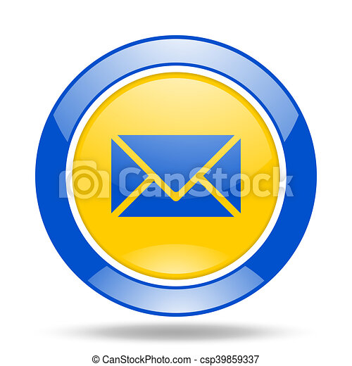 email blue and yellow web glossy round icon - csp39859337