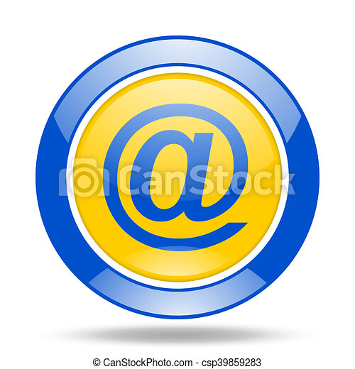 email blue and yellow web glossy round icon - csp39859283