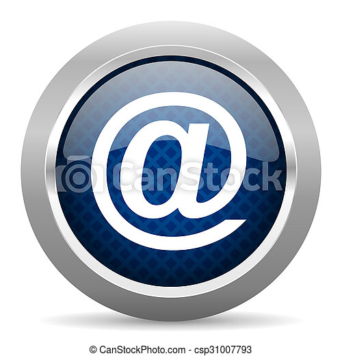 email blue circle glossy web icon on white background, round button for internet and mobile app - csp31007793