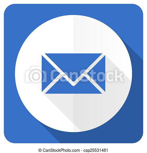 email blue flat icon post sign - csp25531481